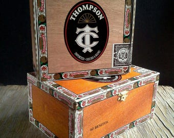 2 Thompson Cigar Boxes Wooden Hinged Box Tobacco Dominican Republic