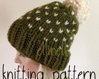Knit Hat Pattern - Slouchy Hat - Fair Isle - Pom Pom Hat