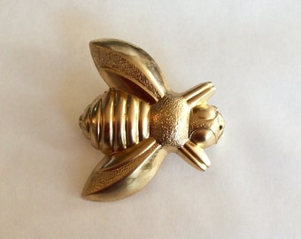 Bee honey bumble bee insect brooch / pin from vintage raw brass finding