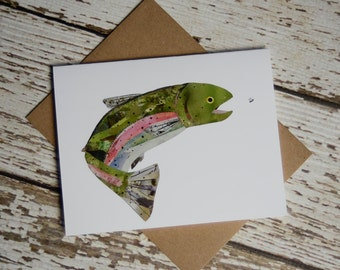 Rainbow Trout Card of Original Collage