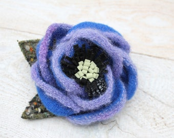 Wool Flower Brooch Blue and Lavender  Flower Pin