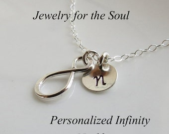 THREE DAY SALE Personalized Infinity Necklace, Tiny Infinity Charm, Bridal Party, Friendship Gift Necklace, Sterling Silver Infinity Jewelry