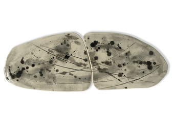 Megalithic Split Plate, Porcelain Art Platter, Grey Ceramic Double Plate