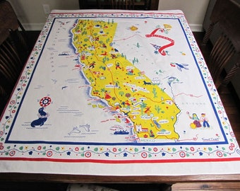 Vintage Tablecloth, Vintage California Map Tablecloth, Margaret Newport,  1944, 1940s, Vintage Linens, Vintage Kitchen, Retro Linens