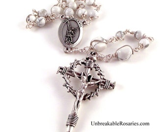 St Michael The Archangel Rosary Chaplet In White Magnesite With Nail Crucifix by Unbreakable Rosaries