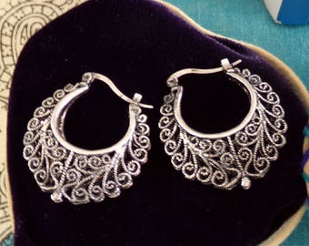 Portuguese lace silver earrings filigree style-Get Home page Coupon