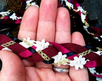 Wedding Handfasting Cord - Black and Magenta Red Masquerade Flower