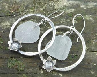 White Sea Glass and Flower Hoop Earrings