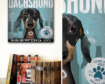 Dachshund beer brewing Company dog graphic art on gallery wrapped canvas by Stephen Fowler