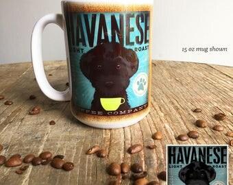 Black Havanese dog coffee mug graphic art MUG 15 oz  OR 11 oz ceramic coffee mug READ details