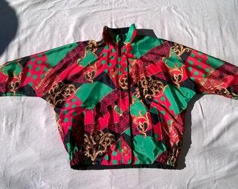 Christmas Jacket, Posh Lady, Wild Elegant Print, Reversible to Black, Vintage Batwing, ladies L 12 14 UNISEX , mens M