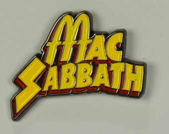 Mac Sabbath logo enamel pin yellow on black metal
