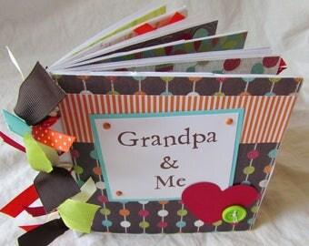 premade PaPeR BaG Mini Scrapbook Album -- GRANDPA and ME -- grandpa's brag book, love my grandpa, papa, grandfather, father's day gift
