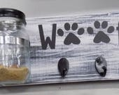 Reserved fancyface0423  with His / Her WOOF Dog treat jar with leash holder. Dog treat jar/Leash holder combination. Handmade Treat Holder
