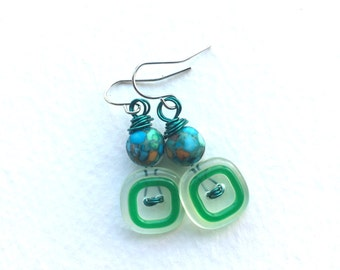 Funky Green Square Vintage Button Earrings with Blue