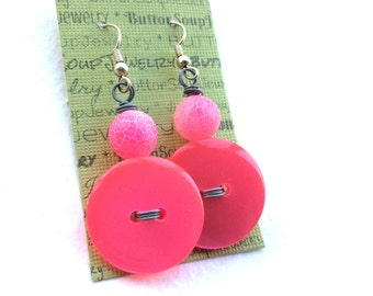 Cute as a Button - Bright Pink Button Earrings