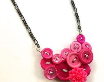 Mothers Day Sale Button Jewelry Necklace Bright Pink Buttons with Flower Cabochon