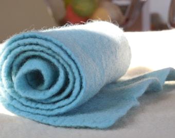 Hand dyed felt / Plant dyed merino felt / light blue / choice of felted or prefelt sheets / hand felted / wool felt sheet / indigo dyed