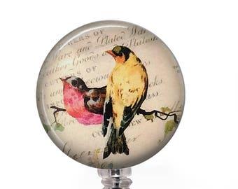 Colorful Birds Badge Reel - Vintage Handwriting Background - 345