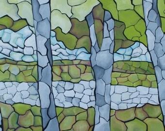 Stained Glass Landscape: Giclée Print on Archival Canvas