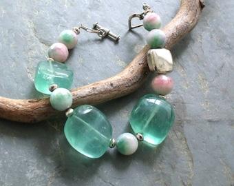 Chunky Fluorite Bracelet, Green and White Gemstone Bracelet, Women's Chunky Beaded Bracelet