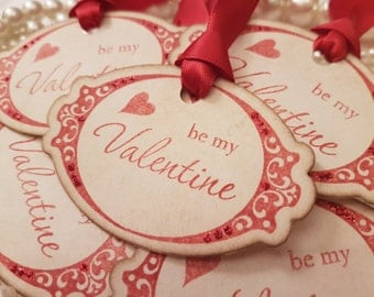 Valentines Day Tags, Valentines Cards, Valentines Day Gift, Valentine Gift Tag, For My Valentine, Glitter Valentine Tags, I love you tags