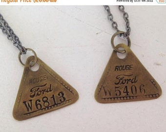 SALE Vintage Jewelry Machine Tags Ford Factory Rouge Recycled Upcycled Jewelry Steampunk.