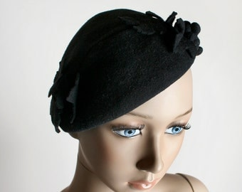 Vintage Felt Hat - Grape Leaves Peter Pan Style Fascinator Hat - Small Black