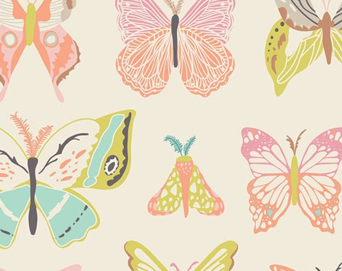 Butterfly fabric, Art Gallery fabrics, Winged by Bonnie Christine, Wingspan in Melon, Ivory, Nature fabric, Nature Study- Choose your cut