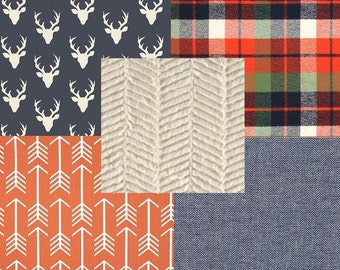 Rustic Plaid Deer Woodland Arrows Navy Blue Orange and Cream Baby Nursery Crib Bedding Set CHOOSE and CUSTOMIZE