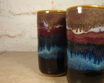 Handmade Pottery Tumblers - Northern Lights Series - Wheel-Thrown Stoneware Pints
