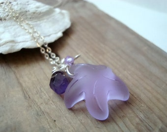 Lavender Starfish Necklace Amethyst Crystal Sea Glass Jewelry February Birthstone Beach Weddings Charm Bridesmaid Beachy Summer Pastel