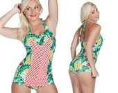 Clementine Swimsuit in Banana and Chevron