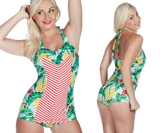 Clementine Swimsuit in Banana and Chevron S ONLY!!