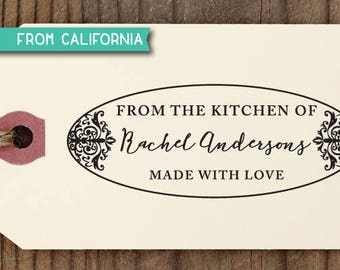 From the Kitchen of Stamp, Traditional Rubber Stamp OR Self-Inking Stamp, Custom Baking Gift, Kitchen Stamp, Gift for Mom, Kitchen Stamp 1