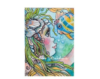 ACEO, Original, Mermaid with Fish