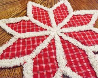 Rag Quilt Candle Mat - Trivet - Red Snowflake Trivet - Homespun Trivet - Homespun Candle Mat - Table Decor - Christmas Decor - Christmas