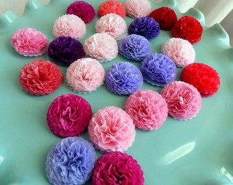 Button Mums 1 inch Tissue Paper Flowers Wedding, Bridal Shower, Baby Shower Decor Princess Tea Party, Princess Party
