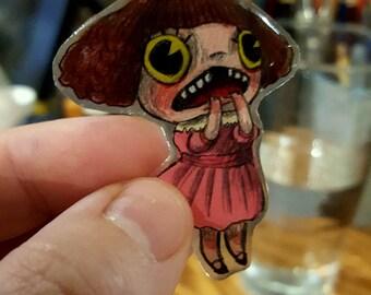 Original Hand Painted Opps Sweet Girl Pin by Kamila Mlynarczyk Woodedwoods
