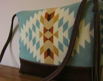 Wool Cross Body Bag Purse Shoulder Bag Brown Leather Southwest Print from Pendleton Oregon Southwest Style