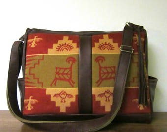 Rock Art Wool Brown Leather Diaper Bag Weekender Bag Extra Large Travel Carry On Tribal Inspired Luggage