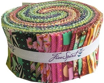 """Tula Pink SLOW & STEADY Design Roll 2.5"""" Precut Fabric Quilting Cotton Strips Free Spirit"""