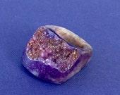 Dara Ettinger DARA Full Stone Druzy Geode Ring in Purple sz 7.25