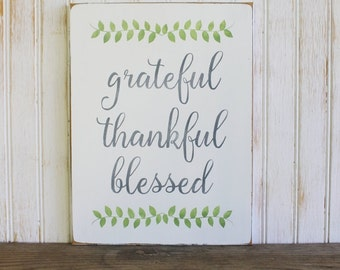 Grateful Thankful Blessed Wood Sign Family Wall Art Wall Sign Blessed Sign Hand Painted Thanksgiving