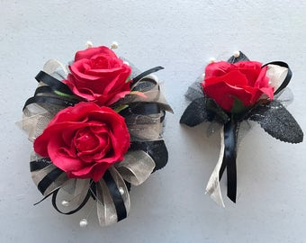 Champagne Black Red Corsage Set (artificial flowers )