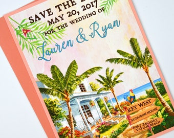 Watercolour Tropical Key West with Roosters Beach Destination Wedding Save the Date