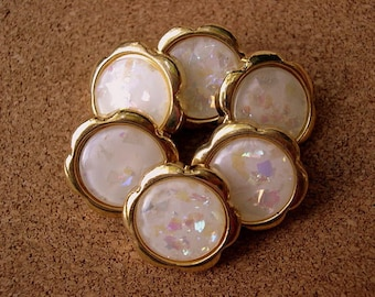 6 Vintage buttons gold color plastic flowers white shade center with glitters -choose size