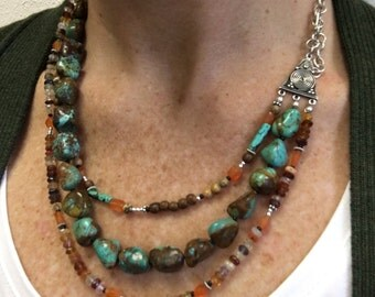 Earth's Bounty 3-strand Turquoise, Carnelian, Wood, Sunstone and mixed gemstone NECKLACE