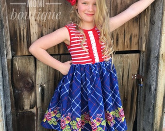 Patriotic dress Red White and Blue Fourth of July dress girls toddler baby boutique flower girl back to school Momi boutique custom dress