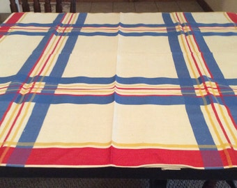 """Vintage New With Tag Guest Of Honor Tablecloth 44"""" Sq Outstanding Bright Primary Colored Strips TB18"""